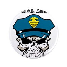 """Special agent skull cop 3.5"""" Button"""