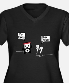 Sup Player Women's Plus Size V-Neck Dark T-Shirt