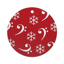 Bass Clef Snowflakes - Red Ornament (Round)