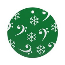 Bass Clef Snowflakes- Green Ornament (Round)
