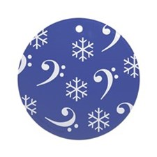 Bass Clef Snowflakes - Blue Ornament (Round)