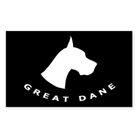 b&w great dane dog Rectangle Sticker