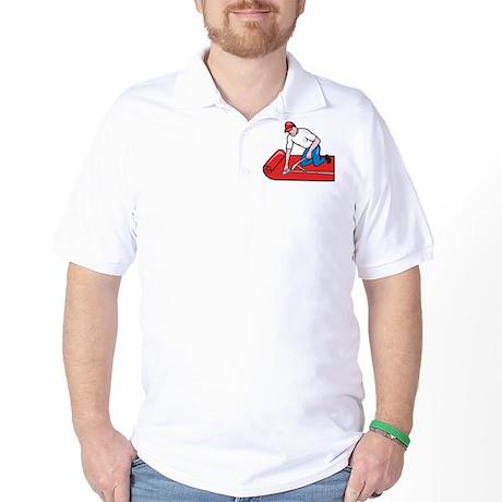 Carpet Layer Fitter Worker Cartoon Golf Shirt