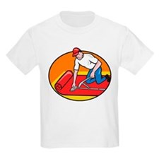 Carpet Layer Fitter Worker Cartoon T-Shirt