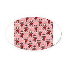 Valentine Heart Sock Monkey Oval Car Magnet