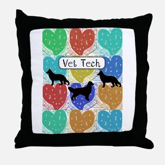 vet tech 2 hearts.PNG Throw Pillow