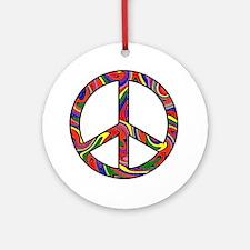 Rainbow Swirl Peace Sign Ornament (Round)