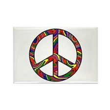 Rainbow Swirl Peace Sign Rectangle Magnet