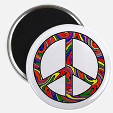 "Rainbow Swirl Peace Sign 2.25"" Magnet (100 pack)"