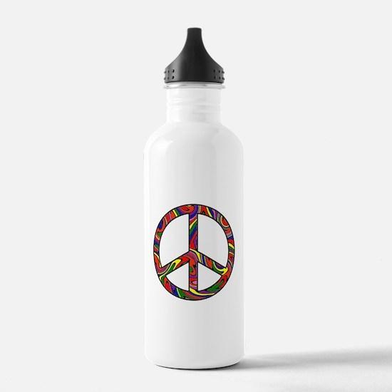 Rainbow Swirl Peace Sign Water Bottle