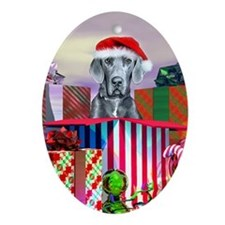 Blue UC Great Dane Claus Oval Ornament