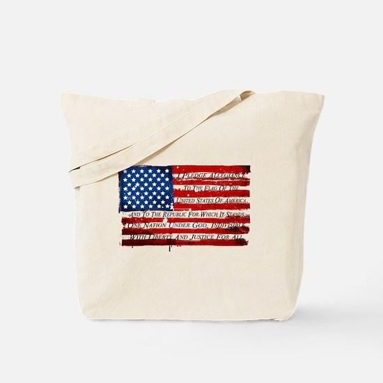 Patriotic Pledge of Allegiance USA Flag Tote Bag