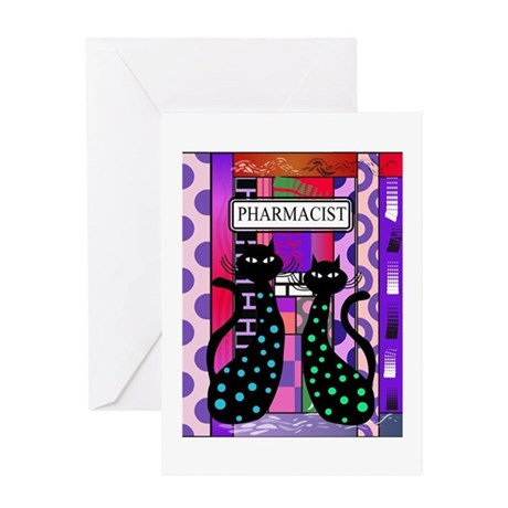 pharmacist cat phone pink.PNG Greeting Card