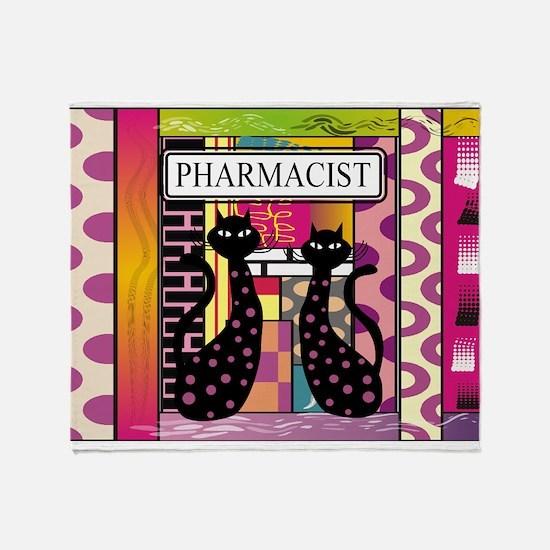 pharmacist black cat TOTE CP.PNG Throw Blanket