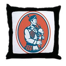 Scotsman Scottish Bagpipes Retro Throw Pillow