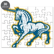 Unicorn Prancing Side Retro Puzzle