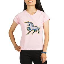 Unicorn Prancing Side Retro Performance Dry T-Shir