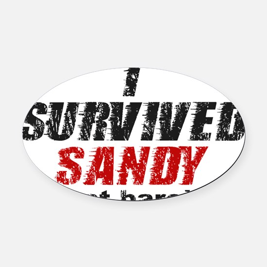 I Survived Sandy (just barely) Oval Car Magnet