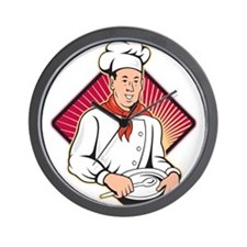 Chef Cook Baker Mixing Bowl Cartoon Wall Clock