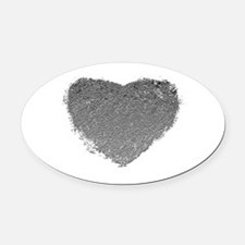 Silver Heart Oval Car Magnet