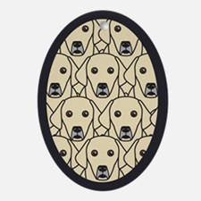 Lots of Yellow Labs Oval Ornament