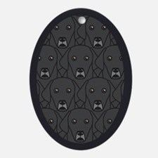 Lots of Black Labs Oval Ornament