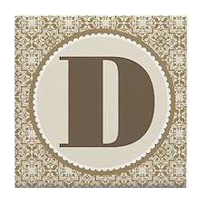 Monogram Letter D Tile Coaster