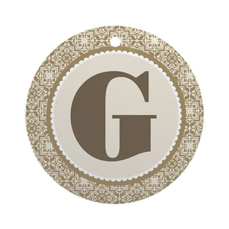 Monogram Letter G Gift Ornament Round By