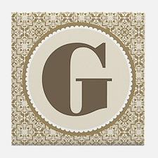 Monogram Letter G Gift Tile Coaster