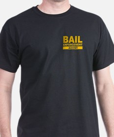 Gold Bail Enforcement Agent on Black T-Shirt