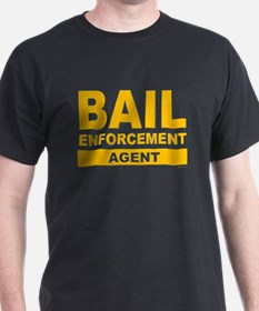 Large Bail Enforcement Agent Gold Letters Black T