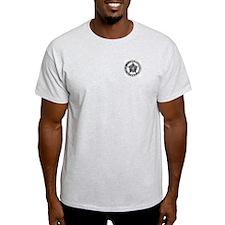 Pewter Bail Enforcement Badge on Ash Grey T-Shirt