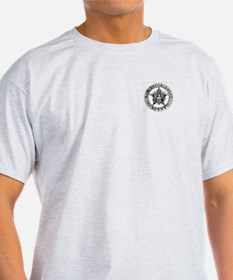 Pewter Bail Enforcement Badge on Ash Grey T-Shirt