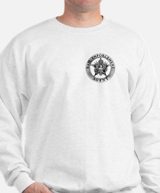 Pewter Bail Enforcement Badge on a Gray Sweatshirt