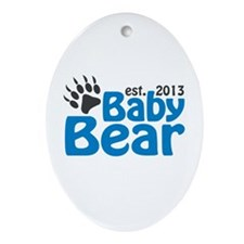 Baby Bear Claw Est 2013 Ornament (Oval)