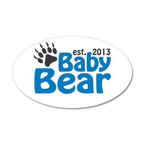 Baby Bear Claw Est 2013 20x12 Oval Wall Decal