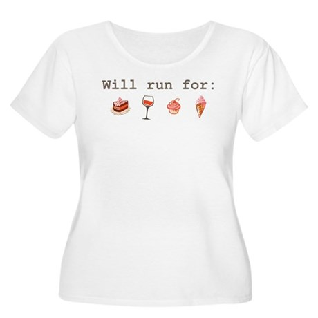 Will run for Women's Plus Size Scoop Neck T-Shirt