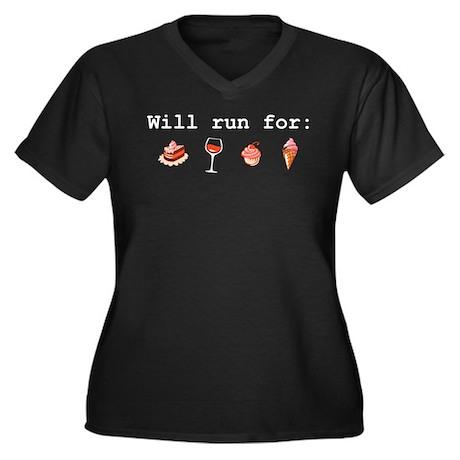 Will run for Women's Plus Size V-Neck Dark T-Shirt