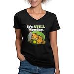 IT'S STILL MONDAY Women's V-Neck Dark T-Shirt