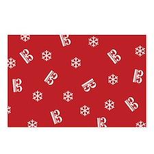 Tenor/Alto Clef Snowflake Postcards -red (Pk of 8)