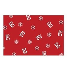 Tenor/Alto Clef Snowflake Postcards -red (Pk of 8)