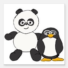 "Panda and penguin Square Car Magnet 3"" x 3"""