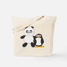 Panda and penguin Tote Bag