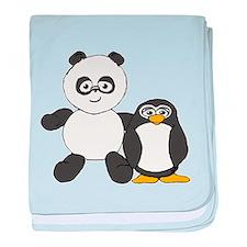 Panda and penguin baby blanket