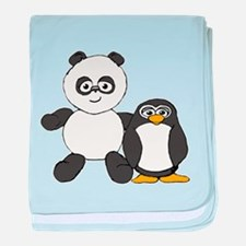 Panda and penguin baby blanket