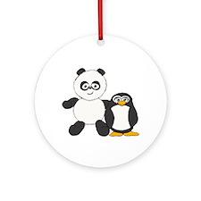 Panda and penguin Ornament (Round)