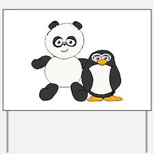 Panda and penguin Yard Sign