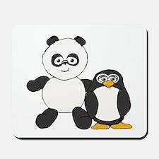 Panda and penguin Mousepad