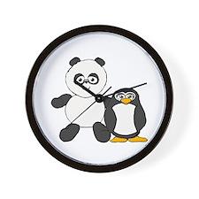 Panda and penguin Wall Clock