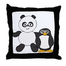 Panda and penguin Throw Pillow